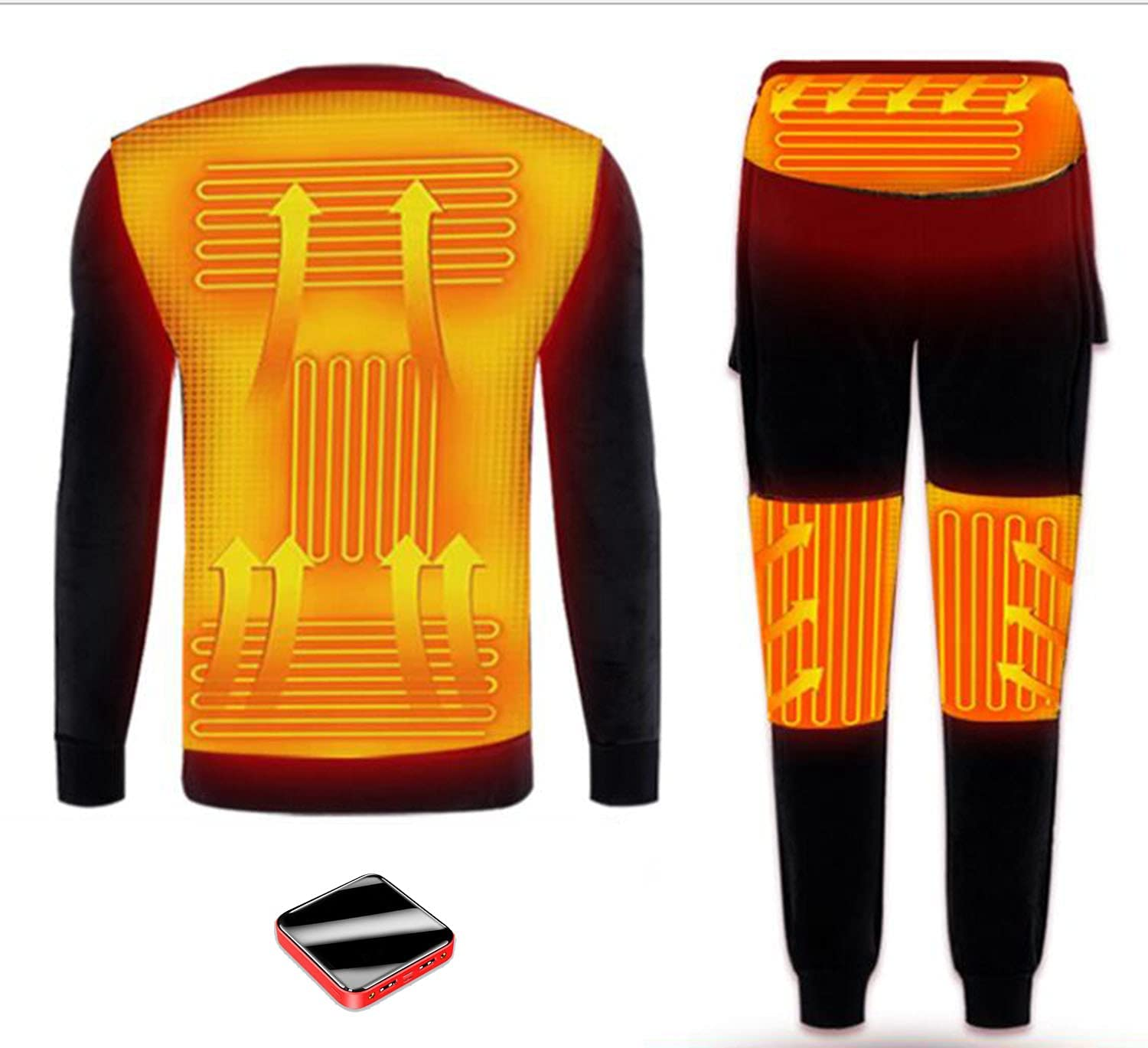 ASEDF Heated Thermal Underwear for Men and Women,Washable USB Electric Heated Thermal Long Sleeve T Shirts or Pants Men- XL