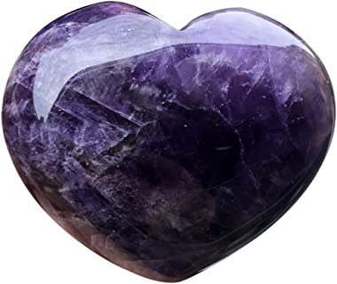 """favoramulet Natural Purple Amethyst Heart Stone, Handcarved Palm Worry Love Pocket Stones Healing Crystal 1.7"""""""