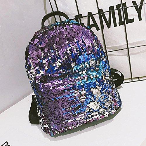 Alikeey dames mode school stijl pailletten reistas schooltas rugzak tas blauw