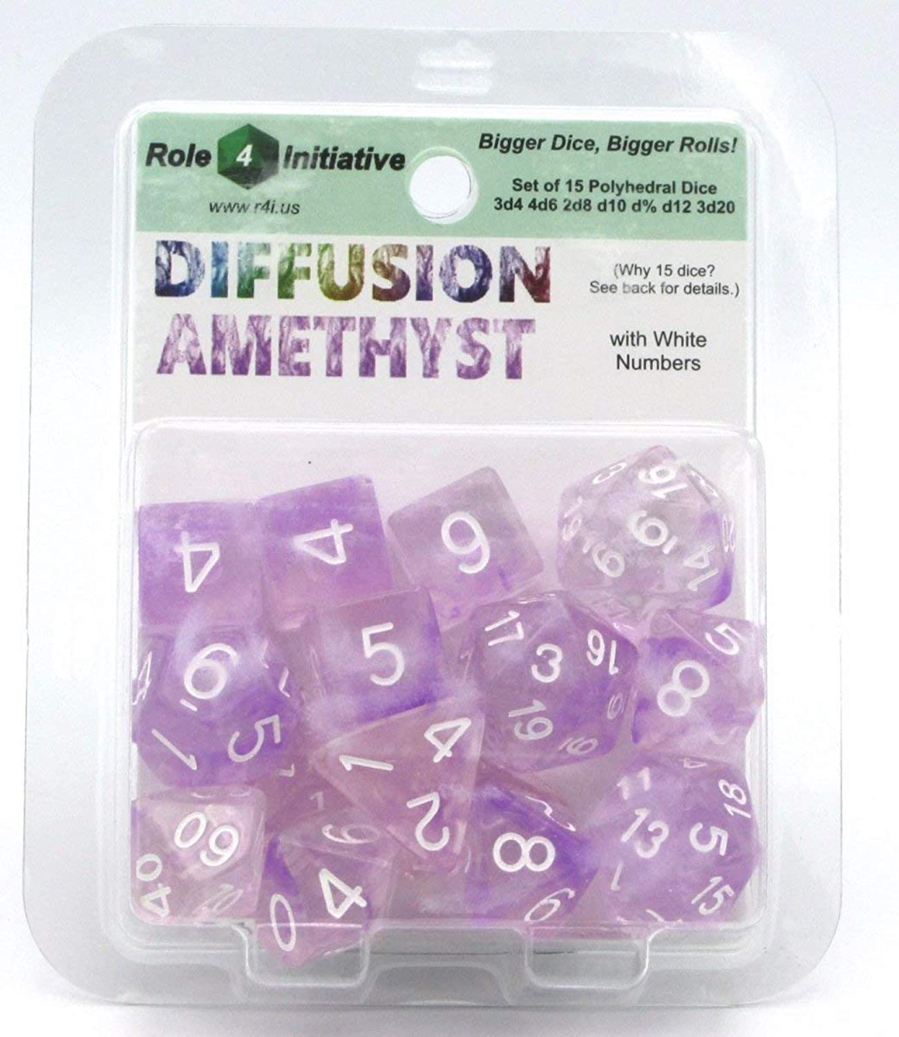 15 Set Diffusion Dice  Amethyst with White Numbers