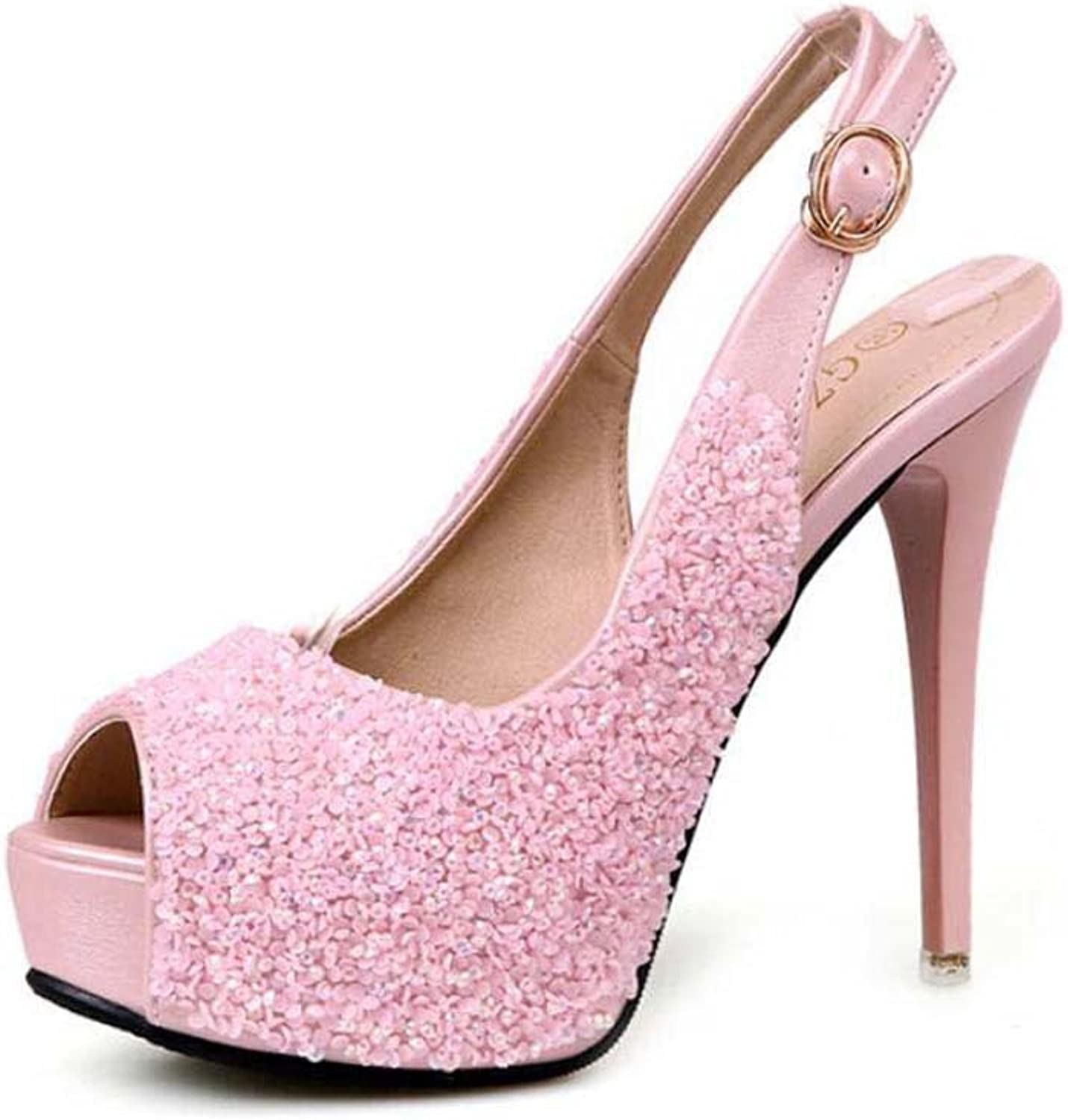 Pump 12cm Stiletto Slingbacks Sandals Rhinestone Sequins Wedding shoes Women Peep Toe Belt Buckle OL Court shoes Dress shoes Roma shoes EU Size 34-40