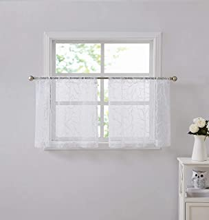 """Warm Home Designs Pair of 2 Short Length 30"""" (W) x 24"""" (L) White Kitchen Tiers Embroidered in White Color. Add Valance to ..."""