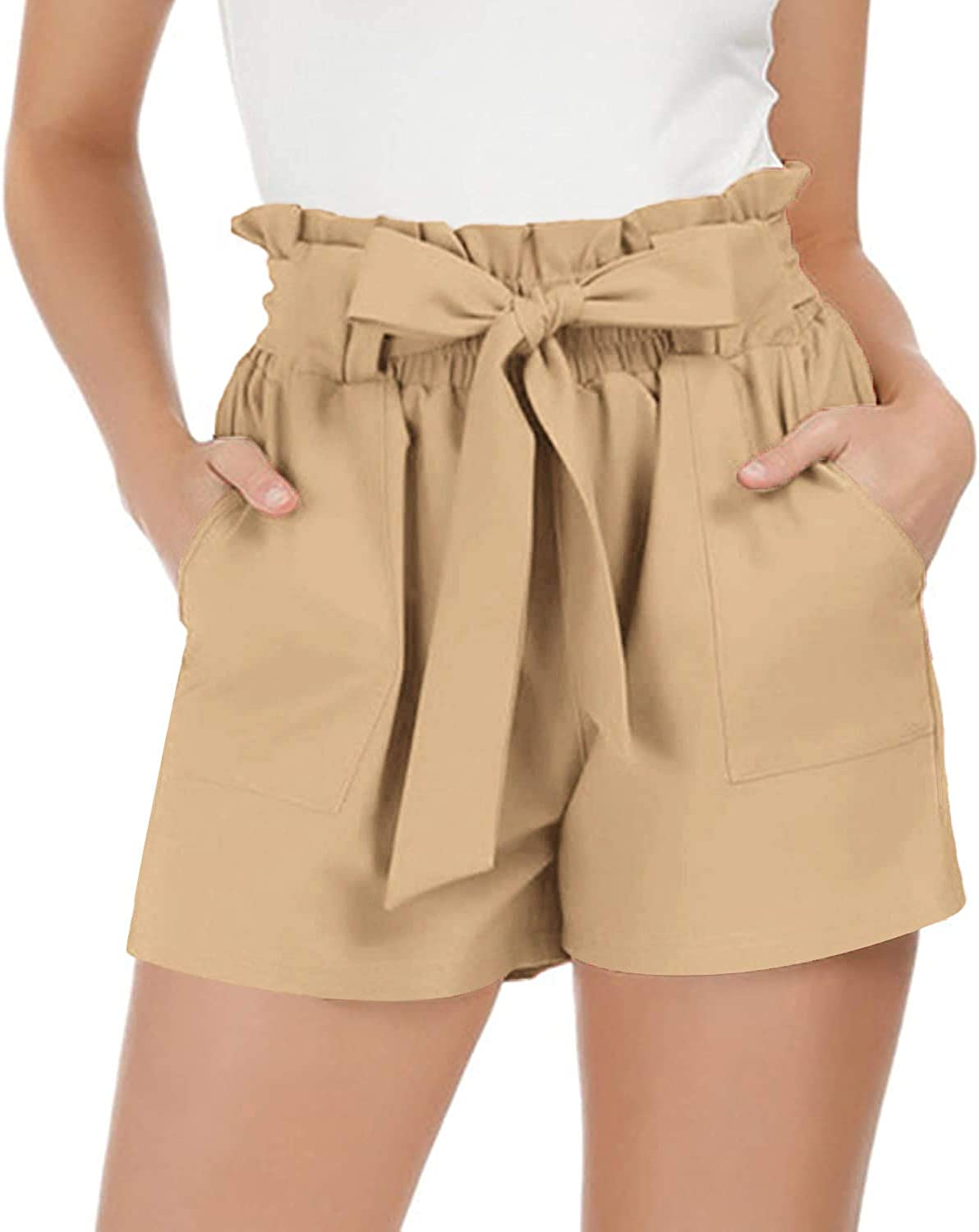 SoTeer Womens Casual Elastic Waist Bowknot Summer Shorts with Pockets Summer Culotte Shorts S-XXL