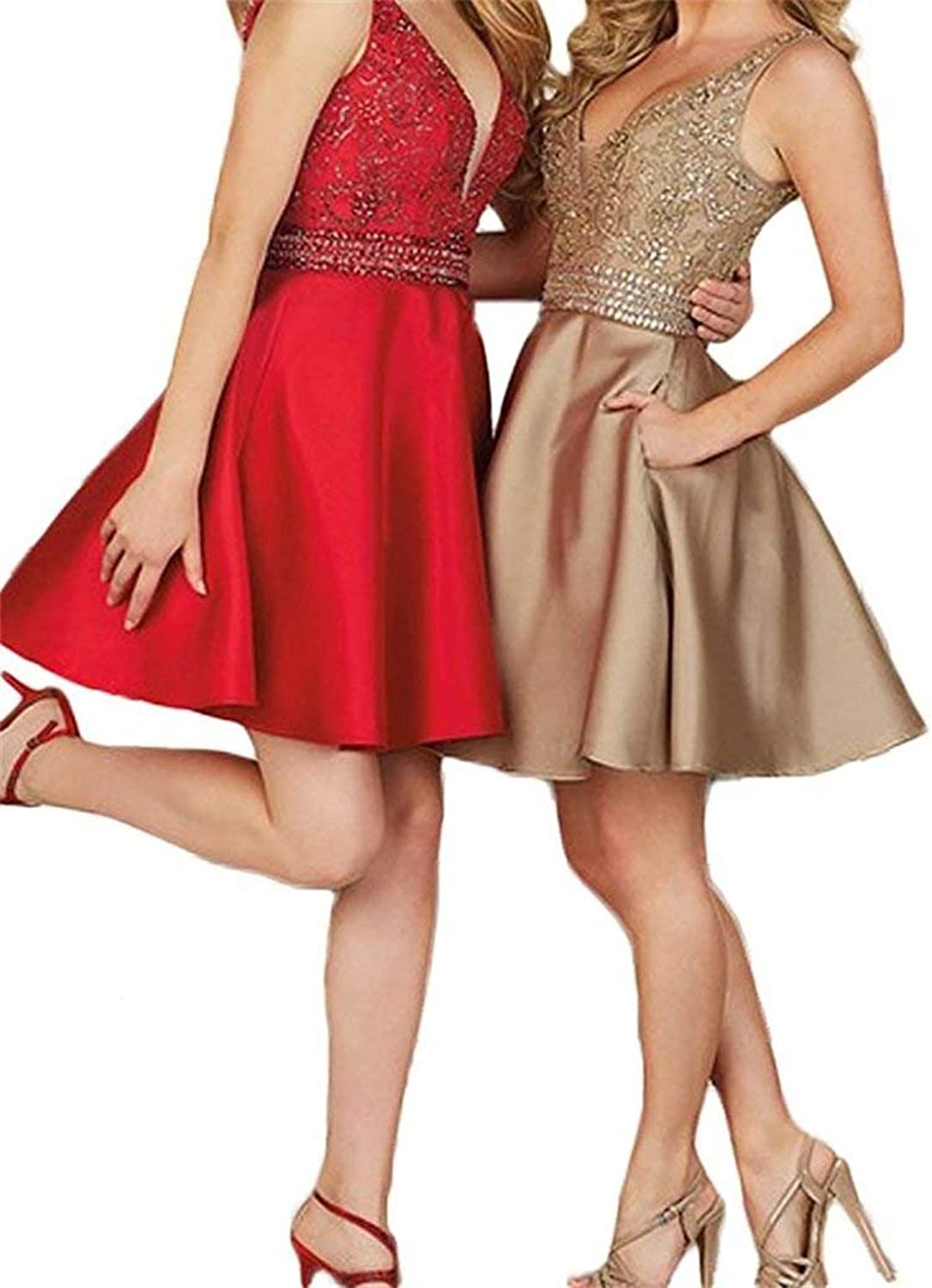 Hatail Women Beaded Cocktail Homecoming Dress Short Double V Neck Prom Gown