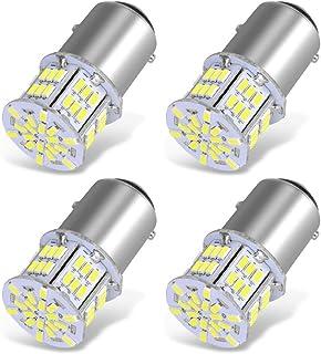 YITAMOTOR 4x 1157 LED Bulbs, 54SMD 650 Lumens, BAY15D 7528 2357 2057 LED Replacement Light Bulb for Brake Tail Running Parking Backup Light for Car Vehicle RV Trailer Boat, 12v-24v