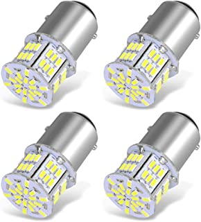 YITAMOTOR 4x 1157 LED Bulbs, 54SMD 650 Lumens, BAY15D 7528 2357 2057 LED Replacement Light Bulb for Brake Tail Running Parking Backup Light for Car Vehicle RV Trailer Boat, 12v-24v
