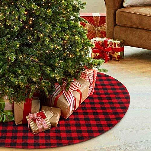 Vanteriam Weihnachtsbaum-Rock, 121,9 cm, doppelschichtig, rot und schwarz, kariert, Büffel für Weihnachten, Urlaub, Baumschmuck