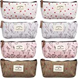 TecUnite 8 Pieces Pen Case Pencil Bag Canvas Pencil Pen Case Pen Holder Cosmetic Makeup Bag Set Christmas Present Bag (Floral Style)