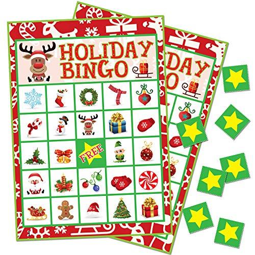 Holiday Christmas Bingo Game for Kids - 24 Players