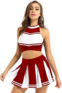 Aislor Femme Pom Pom Girl Uniforme Crop Top + Mini Jupe Plissée École Adulte Ensemble Tenue Danse Cheerleading Compétition...