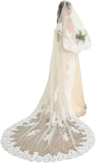 2T 2 Tiers Lace Edge Wedding Veil Cathedral Length Bridal Ivory Veil with Comb - coolthings.us