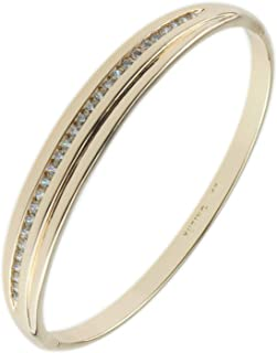 Womens Golden Bangle Jewelry Silver Crystals Stone Inlay Push Clasp Bracelet Box