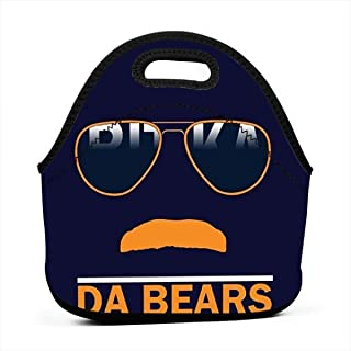 Lunch Tote Bento Boxes Bags Da Bears Chicago Windy City Mustache Glasses - Insulated Neoprene