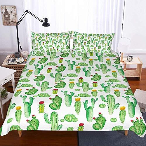 NYLIN Fundas Nórdicas Cactus De Piña Y Flamingo Colcha Estampada Planta Tropical 3D Juego De Ropa De Cama 2-4 PCS Fundas De Edredón Nórdico/Fundas De Almohada/Sábanas para Cama 90/135/150/180