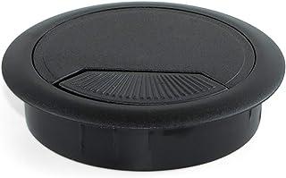 Emuca 3196417 Set von 4 runden Kabeldurchführungen Durchmesser 60mm zum Einfügen am Schreibtisch, aus schwarzem Kunststoff, Ø80mm (4un)
