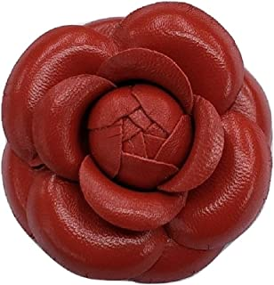 "product image for Camellia Leather Flower Pin Brooch. 3"" Red Camellia Brooch Pin - Hand-made in New York's Garment Center (American Made)"
