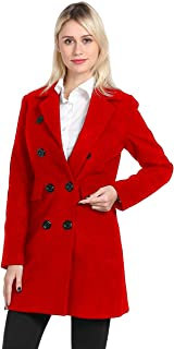 Women Swing Double Breasted Wool Pea Coat with Belt Buckle Spring Mid-Long Long Sleeve Lapel Dresses Outwear