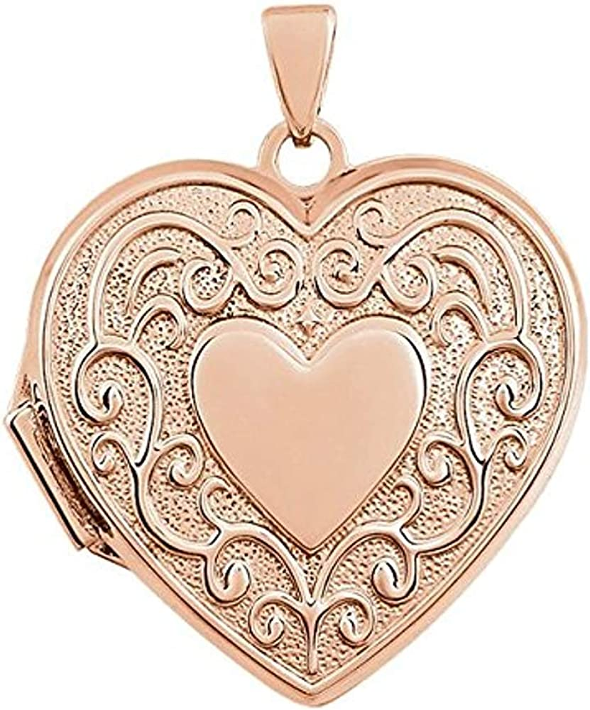 PicturesOnGold.com 14k Rose Gold Heart Scroll Design Locket - 3/4 Inch X 3/4 Inch in Solid 14K Rose Gold