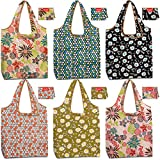 Reusable Grocery Shopping Bags Bulk Foldable Groceries Totes Bags Washable Nylon Fabric Cloth Durable Light Weight 50 lbs Capacity Flat Bottom Shrink Proof