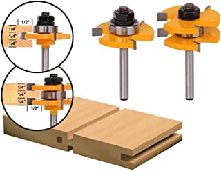 LoveDeal 1/4 Inch Shank Tongue and Groove Router Bit Set, 3 Teeth T Shape Molding Wood Milling Cutter, Adjustable Wood Door Flooring Woodworking Tool, for Kitchen, Bathroom, Cabinet(2 PCS)