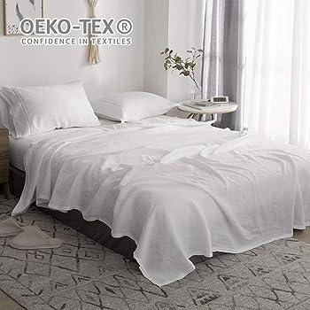 3pcs//set Ruffle Bed Skirt 100/% Pure Linen Ruffled Flat Sheet Pillowcase