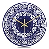 Lafocuse Orologio da Parete Bicchiere Silenzioso Orologio al Quarzo Blu Bianca per Cameretta Soggiorno 29 cm