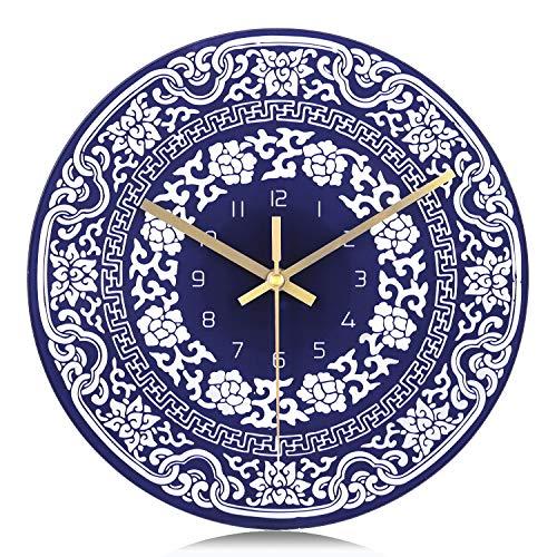 Lafocuse Reloj de Pared Silencioso Vaso Creativo Reloj Cuarzo Vintage Porcelana Azul y Blanco para Salon Comedor Dormitorio 29 cm