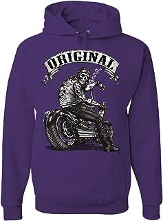 Tee Hunt Original Biker Skull Hoodie Ride or Die Route 66 Motorcycle MC Sweatshirt