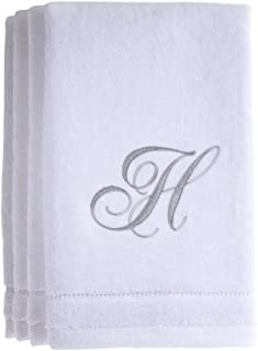 Monogrammed Towels Fingertip, Personalized Gift, 11 x 18 Inches - Set of 4- Silver Embroidered Towel - Extra Absorbent 100% Cotton- Soft Velour Finish - For Bathroom/ Kitchen/ Spa- Initial H (White)