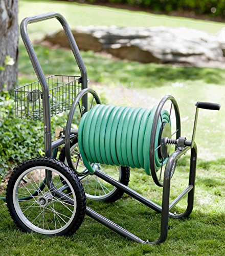Liberty Garden 880-2 Industrial 2-Wheel Pneumatic Tires Garden Hose Reel Cart, Holds 300-Feetof 5/8-Inch Hose - Gray