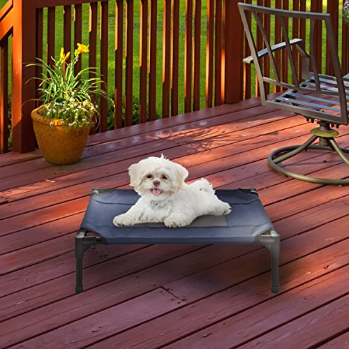 """Elevated Pet Bed-Portable Raised Cot-Style Bed W/ Non-Slip Feet, 24.5""""x 18.5""""x 7"""" for Dogs, Cats, and Small Pets-Indoor/Outdoor Use by Petmaker (Blue)"""
