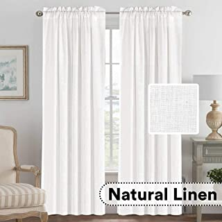 H.VERSAILTEX Light Filtering Linen Textured Curtains Window Treatment Privacy Added Draperies/Drapes/Panels/Treatment, Rod Pocket, Natural & Durable (2 Pack, 52 by 84 Inch, White)