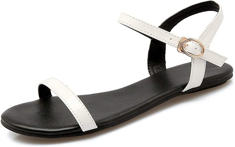 Women Sandals Summer Ankle Strap Sandals Flip Flops shoes Flat Sandal,White,3
