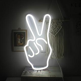 Enseigne Lumineuse au Néon Yeah Gesture Enseignes au Néon à LED Blanches Avec Interrupteur USB Enseigne Lampe Néon Doigts ...