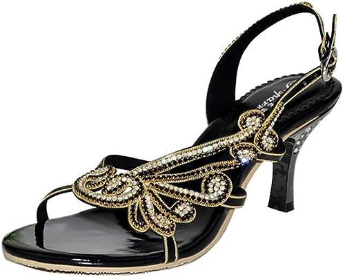 Unbekannt Cristal des Femme Soirée Mariage Slip-on Nuptiale Nuptiale Nuptiale Cale Haute Talon Sandale Chaussures,noir,40 934