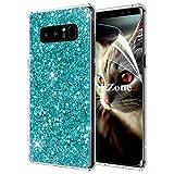 Samsung Galaxy Note 8ケース [HDスクリーンフィルム付き] OKZone キラキラ 目立つデザイン TPU シリコン カバー 耐衝撃ボディ 全面保護 落下防止 ファッション Samsung Galaxy Note 8 適用 (緑)