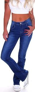 Style-Station Damen Bootcut Jeans, Schlaghose in Blau, Hüftjeans Tiefsitzend