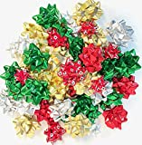 Holiday Premium Gift Wrapping Christmas Bows Large and Medium Sized Peel and Stick (48 Bows)