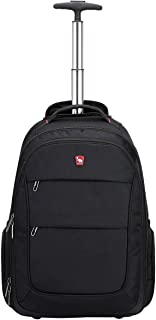 Rolling Backpack with Wheels for Women Men School College Laptop Carry on Black