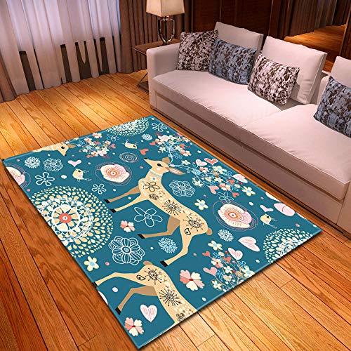 CMYKYUH Alfombra Salon Ciervo Animal Azul 120 x 170 cm Alfombra De...