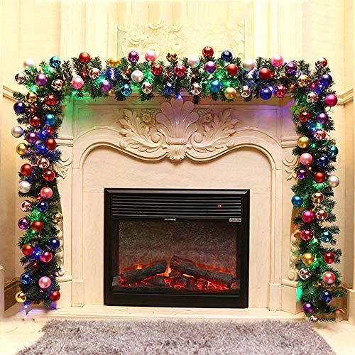 8.8Ft Christmas Garland Snow Flocked Artificial Wreath, with LED lights Battery Operated, Indoor Outdoor Garden Gate Decoration for Winter Holiday New Year Decor