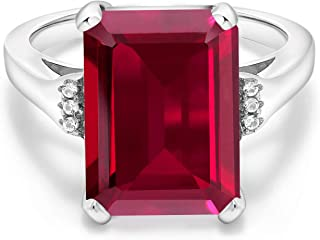 925 Sterling Silver Red Created Ruby Women's Ring (8.07 Ct Emerald Cut, Available in size 5, 6, 7, 8, 9)
