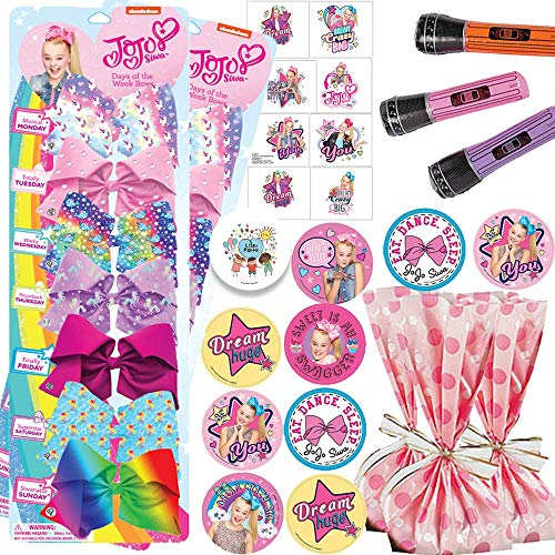 Deluxe Jojo Siwa Birthday Party Favors and Goodie Bag Fillers Pack For 12 With Jojo Siwa Hair Bows, Tattoos, Stickers, Flutes, Pink Favor Bags, and Pin