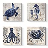 Bathroom Decor 4 panel Canvas Wall Art - Ocean Theme Canvas Prints Sea Animal Octopus Crab SeaTurtle Seahorse Decor Pictures Livingroom Posters - 12 x 12' x 4 pcs (12' x 12' x 4pcs)