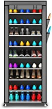 Styleys Multipurpose Portable Folding Shoes Rack 9 Tiers Multi-Purpose Shoe Storage Organizer Cabinet Tower with Iron and Nonwoven Fabric with Zippered Dustproof Cover (Grey)