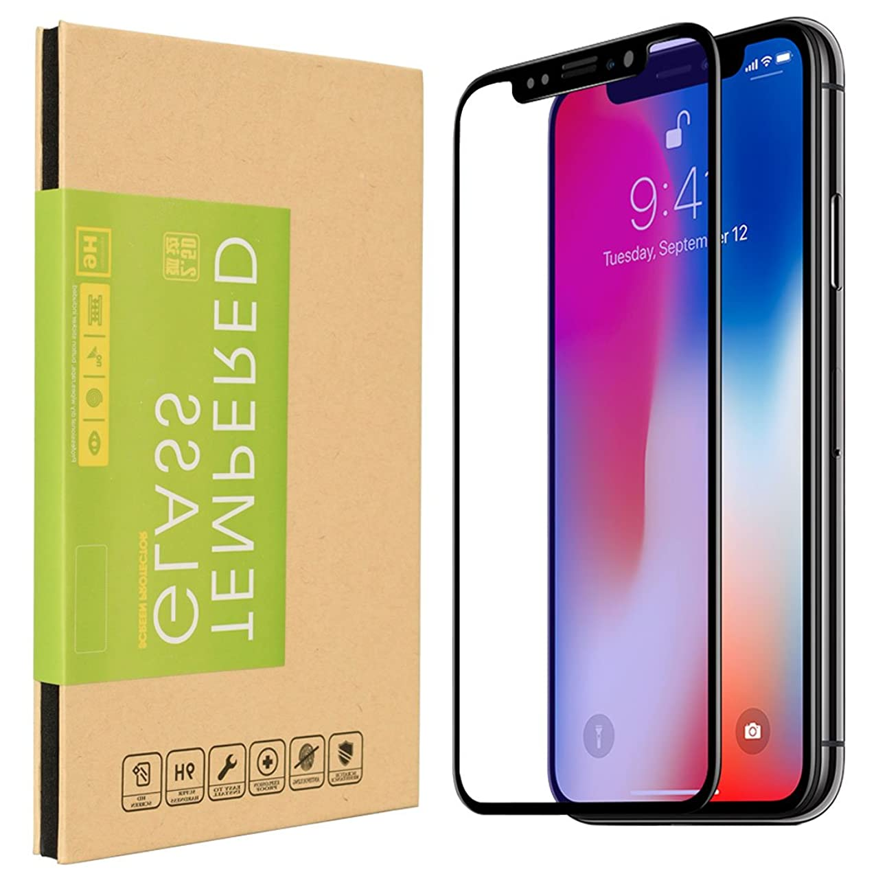 iPhone X Screen Protector, 2-Pack 3D Full Cover 9H Hardness 0.3MM Slim [Bubble Free] [Ultra Clear] [Scratch Proof] [Case Friendly] Premium Tempered Glass for iPhone X 10 [Black Edge] ynsvzhcvcseyy981