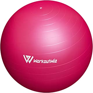 Workout Wiz Swiss Balls Yoga Home Gym Exercise Pilates Fitness 75cm Pink