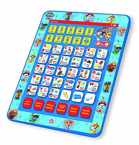 LEXIBOOK- Tablet Educativa Parlante Bilingüe Paw Patrol, Juguete para Aprender Letras, numeros, Vocabulario y música, Idiomas Español/Inglès, Azul
