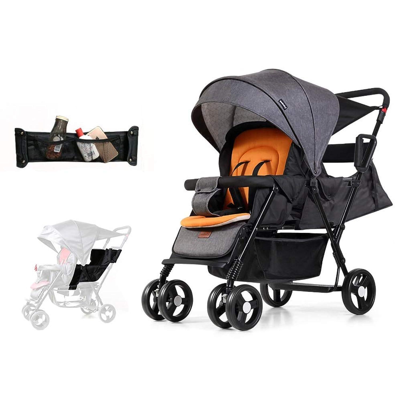 二人?多人数用ベビーカー オプションエリートタンデムダブル幼児&ベビーカー、複数の座席構成、リクライニングシート、軽量フレーム、チャイルドシート対応、大型収納バスケット、カーボングレー (Color : Gray)