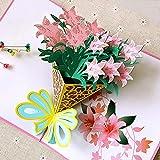 3D Pop up Muttertagskarte Grußkarte Hochzeitkarte Congratulations ein Bouquet von Rosa Lilien für Frau, Partnerin, Romantik Valentinstag, Jahrestag MEHRWEG